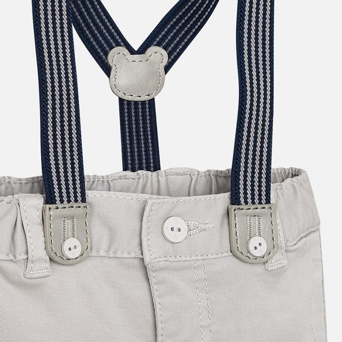 Pantalon lung cu bretele baiat Mayoral, gri 2
