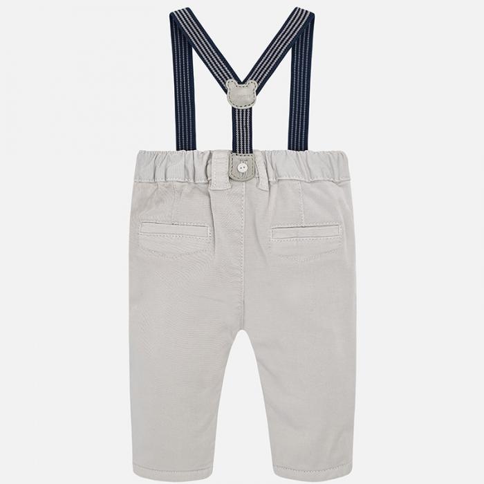 Pantalon lung cu bretele baiat Mayoral, gri 1