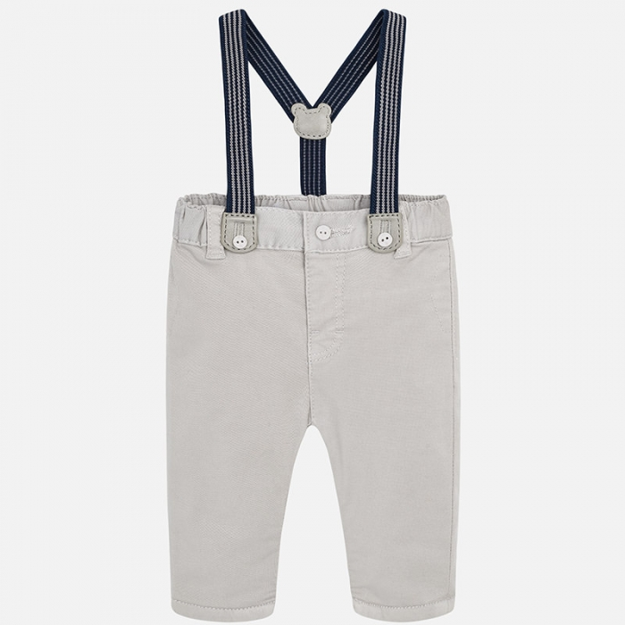 Pantalon lung cu bretele baiat Mayoral, gri 0