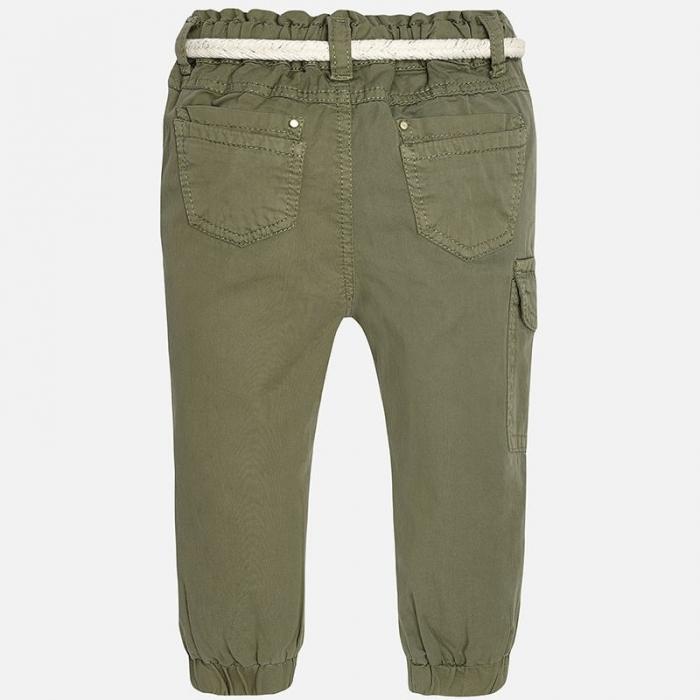 Pantalon lung kaki fete, centura textila, Mayoral 0