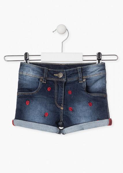 Pantalon scurt fete, broderie gargarite, denim 0