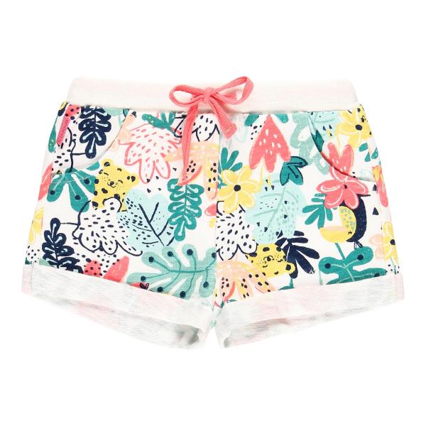 Pantalon scurt fete bumbac, imprimeu multicolor, Boboli 0