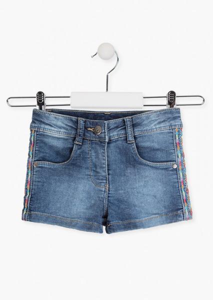 Pantalon scurt fete, denim, broderie etnic, Losan [0]