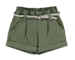 Pantalon scurt fetite kaki,centura textila, Mayoral 0