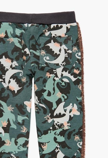 Pantalon sport fete, imprimeu camuflaj , Boboli 3