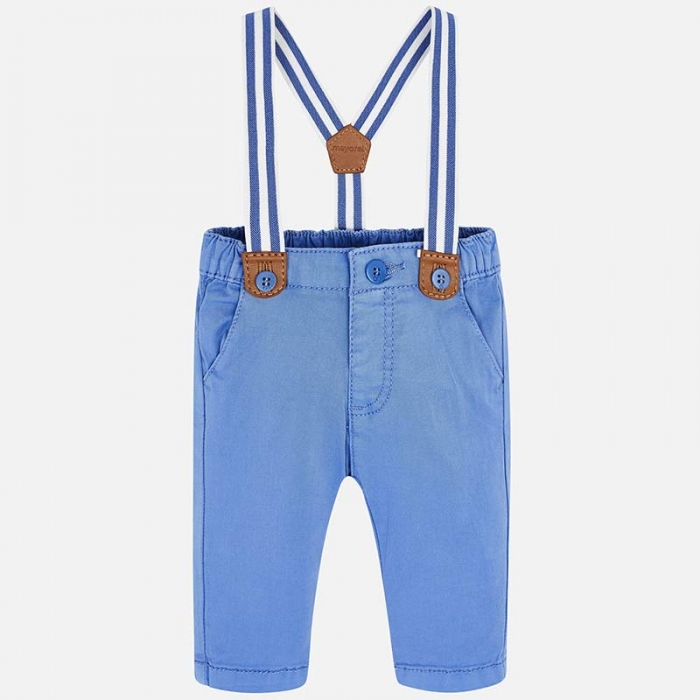 Pantaloni bebe baiat cu bretele, azur, Mayoral 0