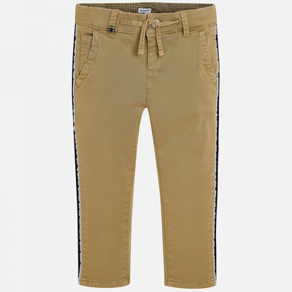 Pantaloni bej cu benzi lateral 0