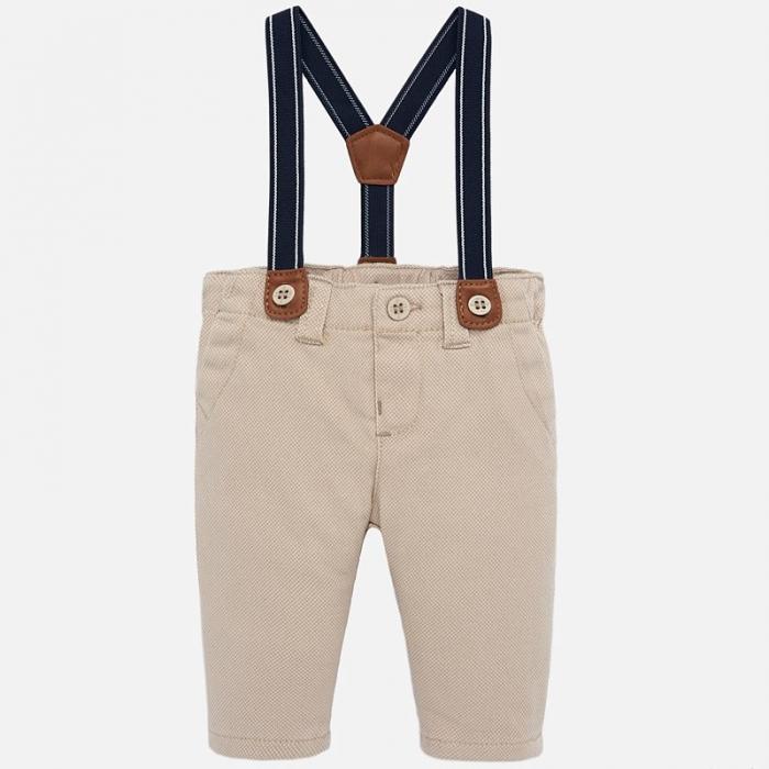 Pantaloni captusiti cu bretele bebe baiat, bej 0