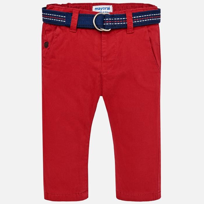 Pantaloni cu curea baiat ,captusiti bbc, Mayoral, culoare rosie 0