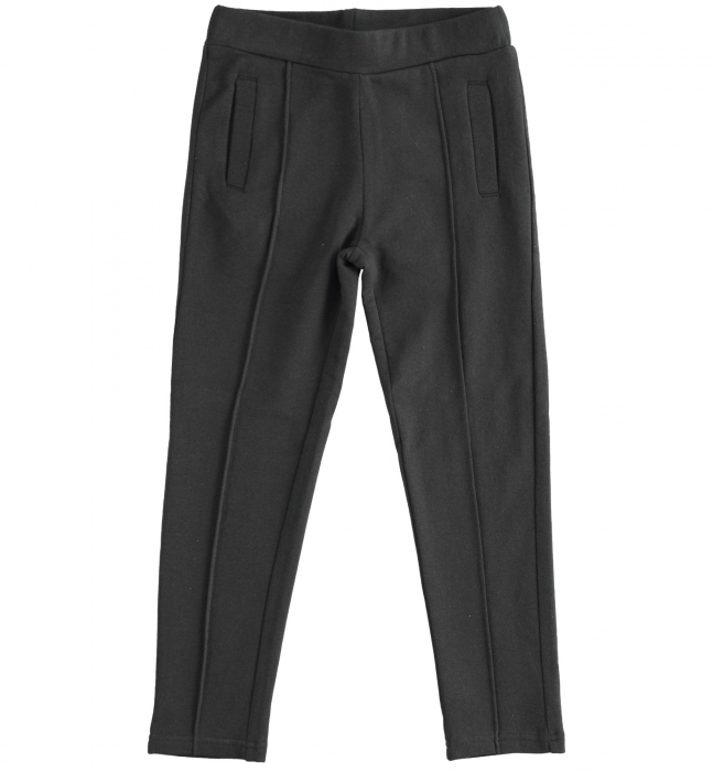 Pantaloni fete tip colant, vatuit, negru, iDO [0]