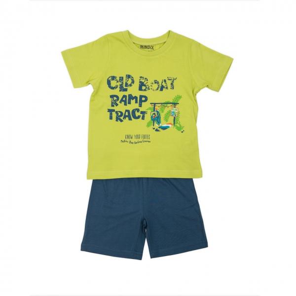 Pijama bumbac maneca scurta baiat Babybol navy 0