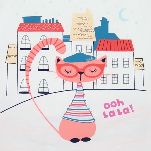 Pijama fete cu bretele , imprimeu pisicuta, Boboli 3