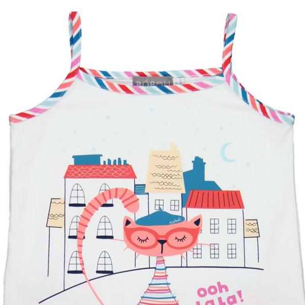 Pijama fete cu bretele , imprimeu pisicuta, Boboli 2