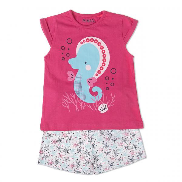 Pijama fete maneca scurta, imprimeu calut de mare, ciclam, Babybol 0