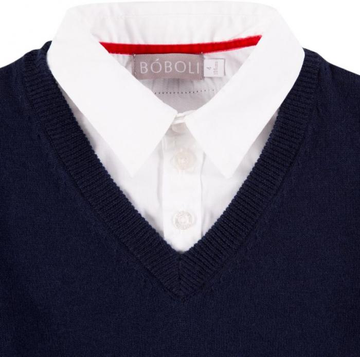 Pulover baiat, aspect dublu , bleumarin cu dungi gri 2