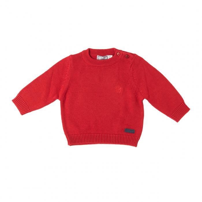 Pulover bebe baiat tricotat, rosu, Babybol [0]