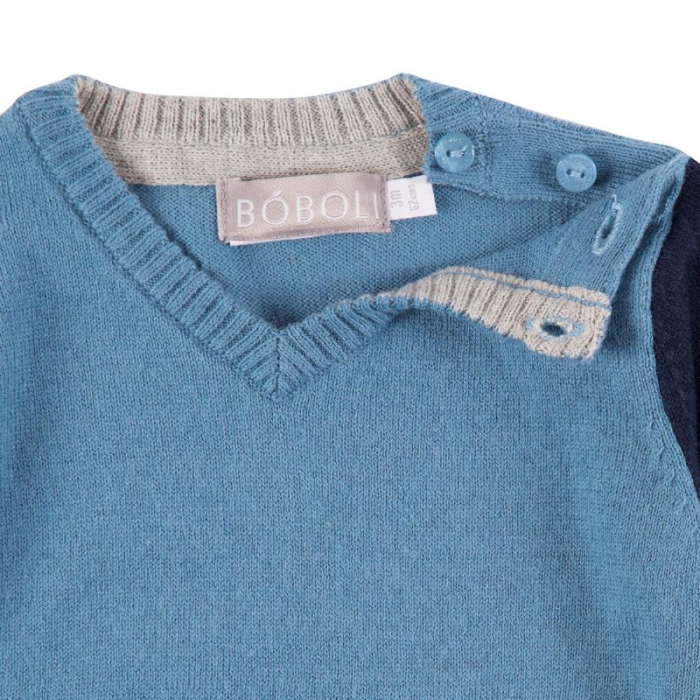 Pulover tricot baiat in V, blue, Boboli 3