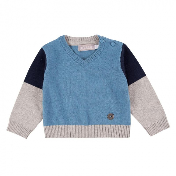 Pulover tricot baiat in V, blue, Boboli 0