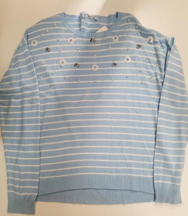 Pulover tricot fete, aplicatii perle si paiete, bleu, Mayoral 0