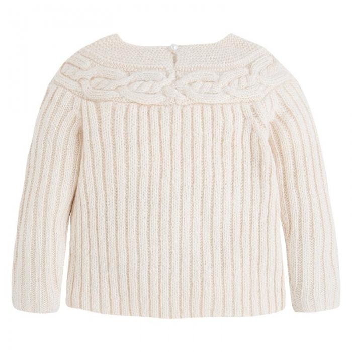 Pulover tricotat cu perle , Mayoral, bej 0