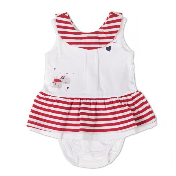 Rochie bebe fetita cu chilot, dungi rosii, Babybol 0