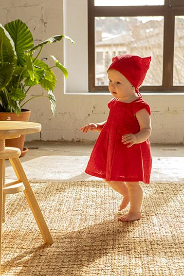 Rochie broderie cu batic, rosie, Babybol 0