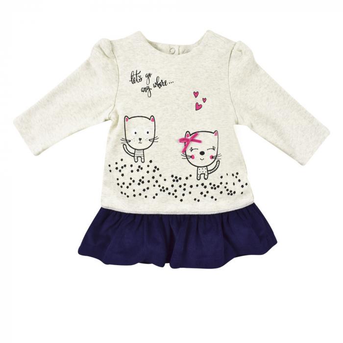 Rochie bumbac+dres, imprimeu pisicute, Babybol 0