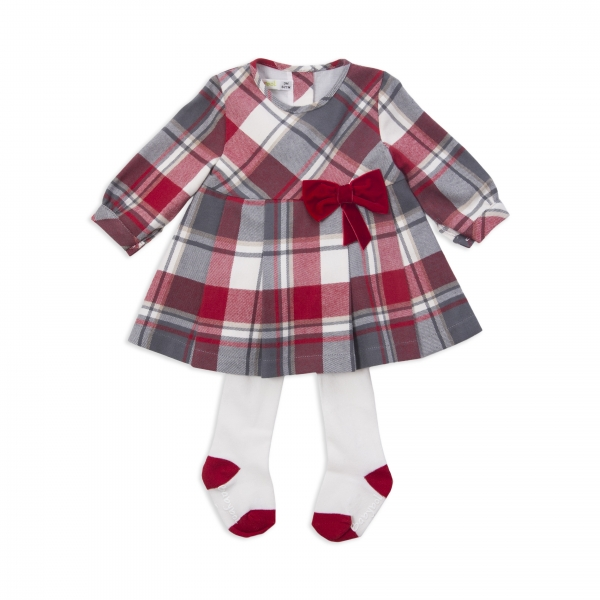 Rochie eleganta cu maneca lunga din bumbac cu dres , Babybol, rosie 0