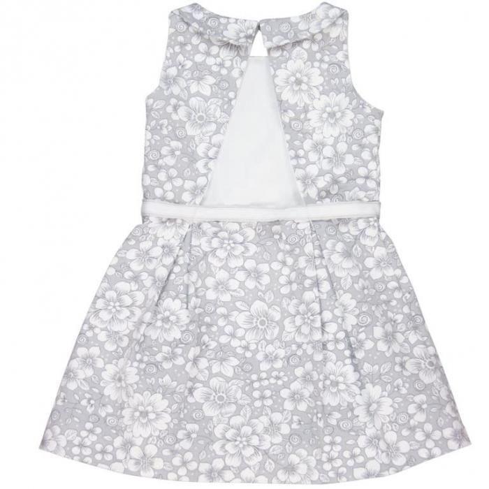 Rochie eleganta cu spate gol, imprimeu flori,gri, Boboli 1