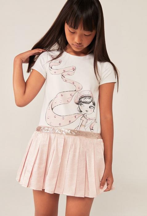 Rochie eleganta , imprimeu fetita, paiete, roz, Boboli 0