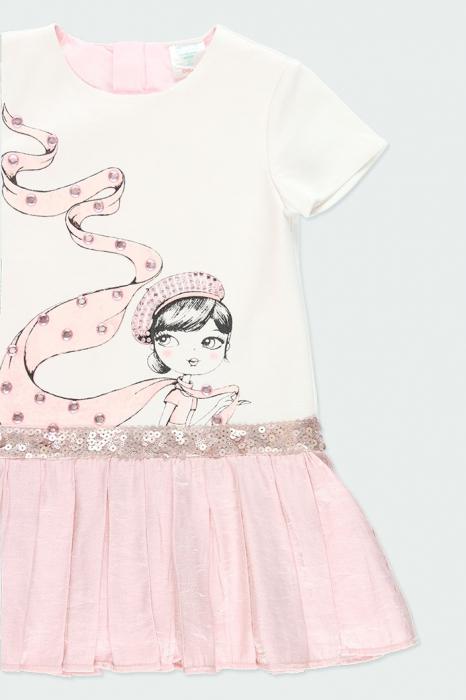Rochie eleganta , imprimeu fetita, paiete, roz, Boboli 2