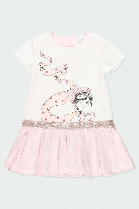Rochie eleganta , imprimeu fetita, paiete, roz, Boboli 1