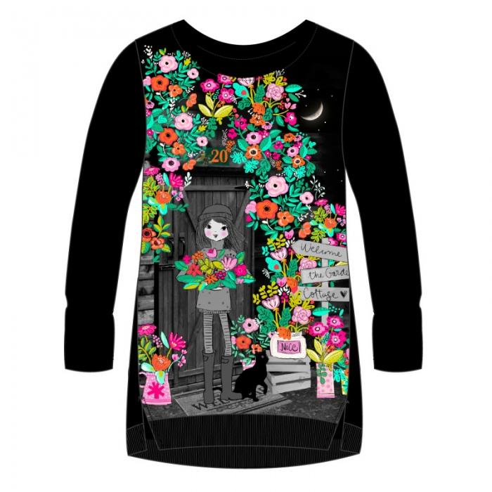 Rochie fete neagra cu imprimeu flori Boboli 0
