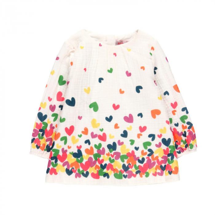 Rochie fete panza topita, imprimeu inimioare multicolor,Boboli 0