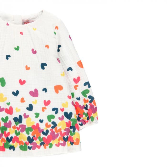 Rochie fete panza topita, imprimeu inimioare multicolor,Boboli 2