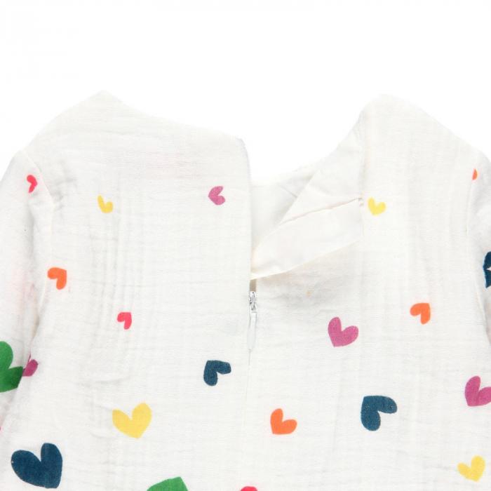 Rochie fete panza topita, imprimeu inimioare multicolor,Boboli 3