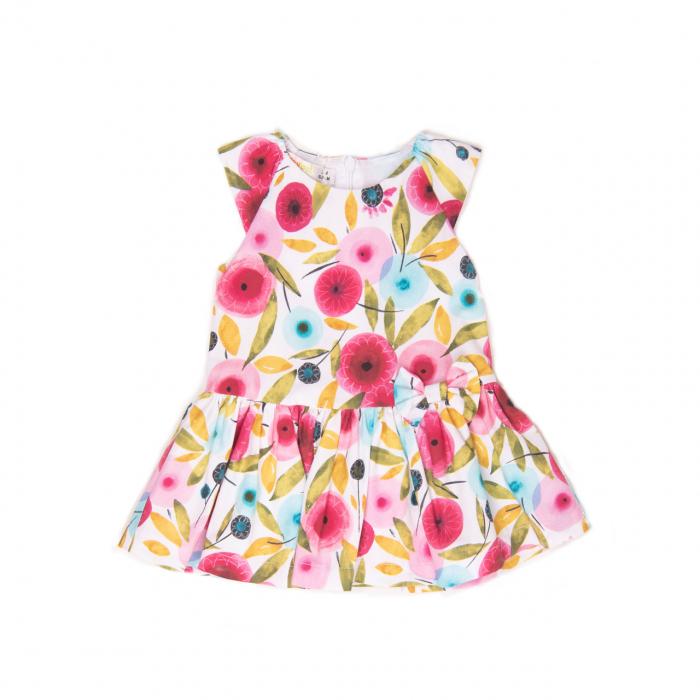 Rochie fetita Babybol, maneca scurta , bumbac, imprimeu floral, fucsia [0]