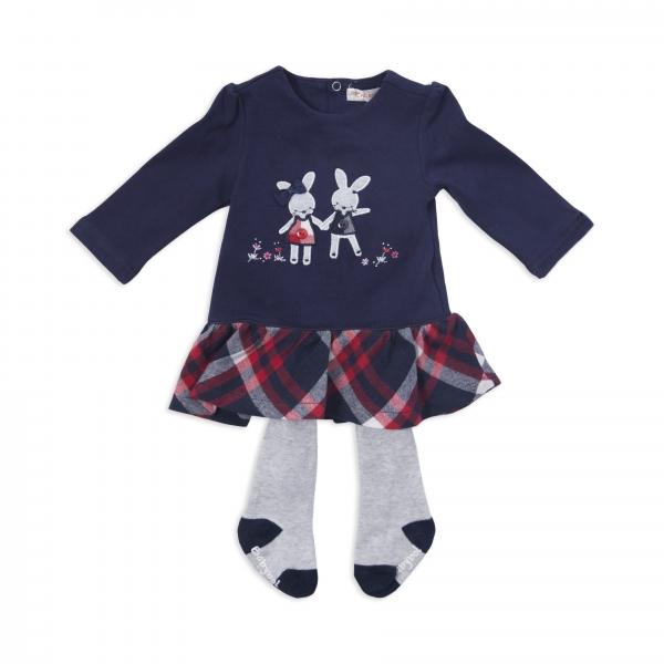Rochie fetite cu dres inclus, Babybol, culoare navy 0