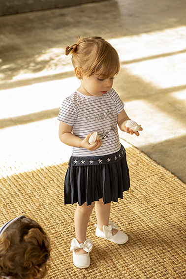 Rochie fetite din jersey, imprimeu stelute, Babybol 0