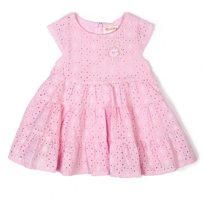 Rochie fetite roz cu broderie sparta, Babybol 0