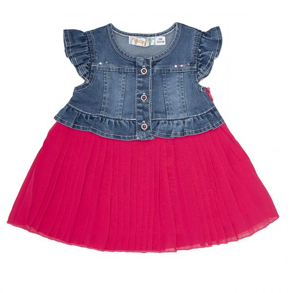 Rochie jeans cu fusta plisee siclam, Babybol 0