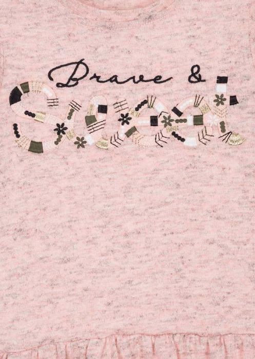 Rochie maneca lunga broderie fata, roz 2