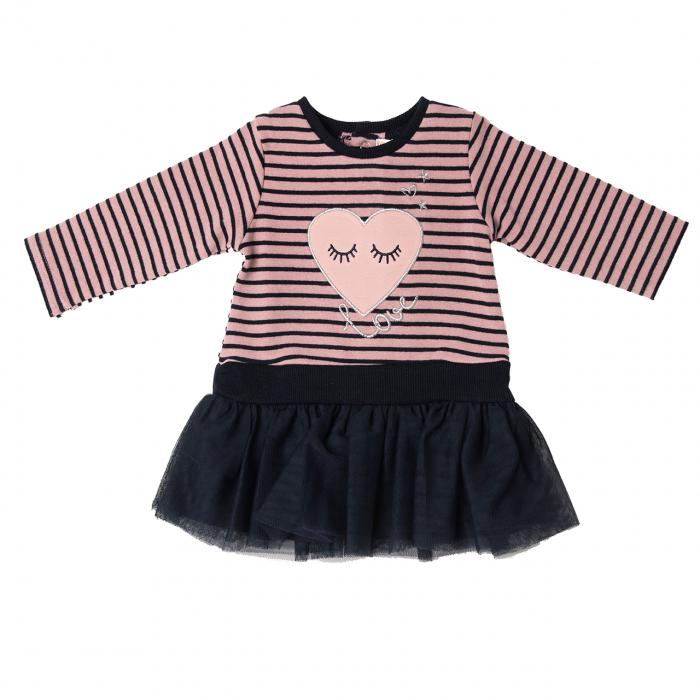 Rochie maneca lunga bumbac cu fusta tulle bleumarin, dungi roz, Babybol [0]