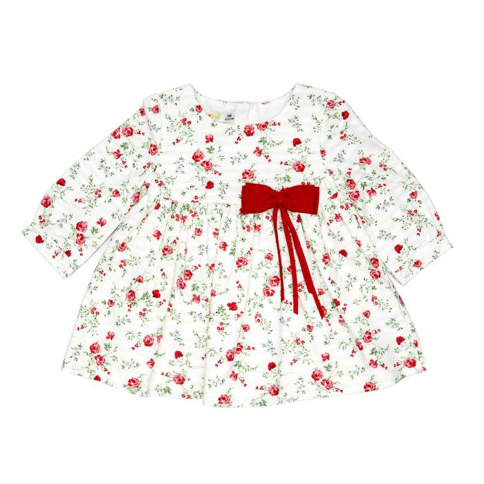 Rochie maneca lunga , imprimeu flori, funda rosie, Babybol 0