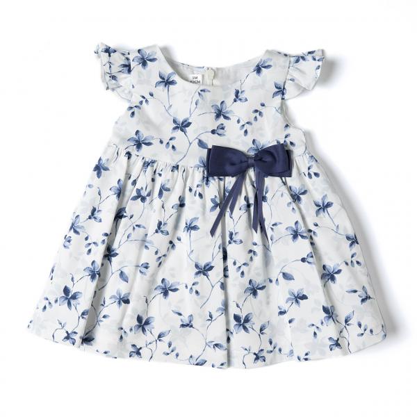Rochie satin , imprimeu floral, funda navy , Babybol 0