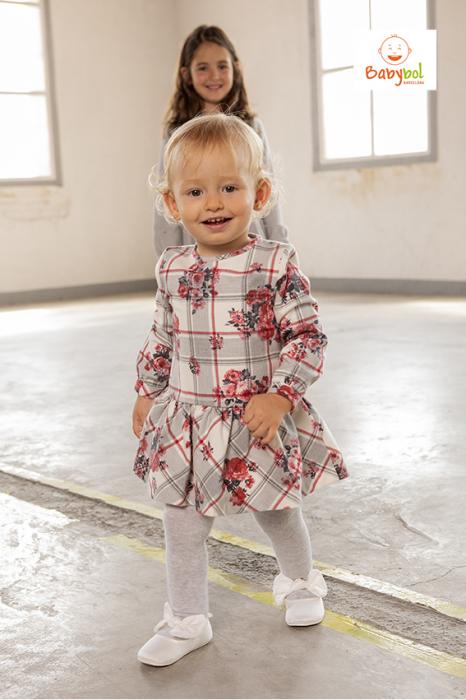 Rochie stofa cu imprimeu floral si dres asortat,  Babybol 0