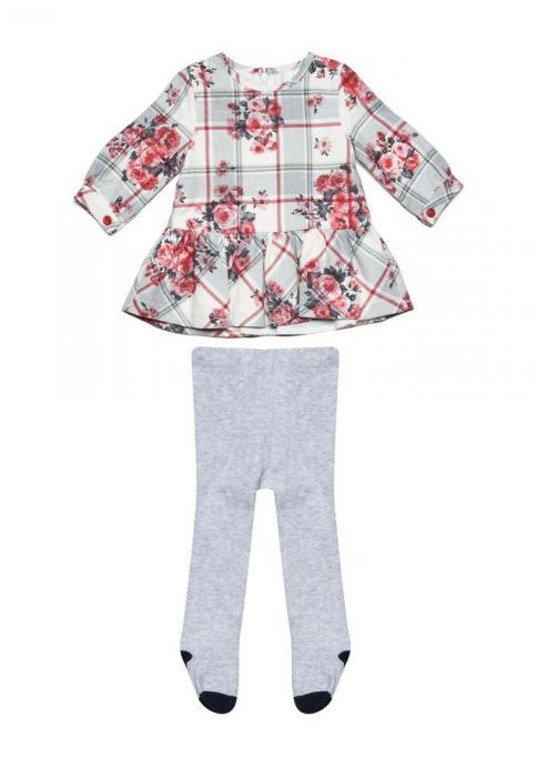 Rochie stofa cu imprimeu floral si dres asortat,  Babybol 1