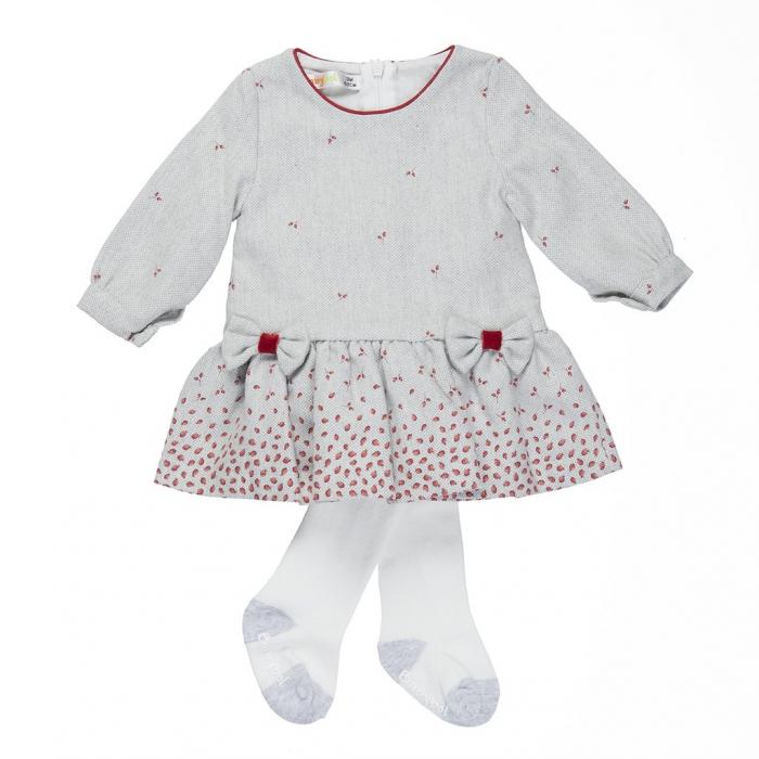 Rochie stofa fete cu fundite si dres rosu, Babybol 0