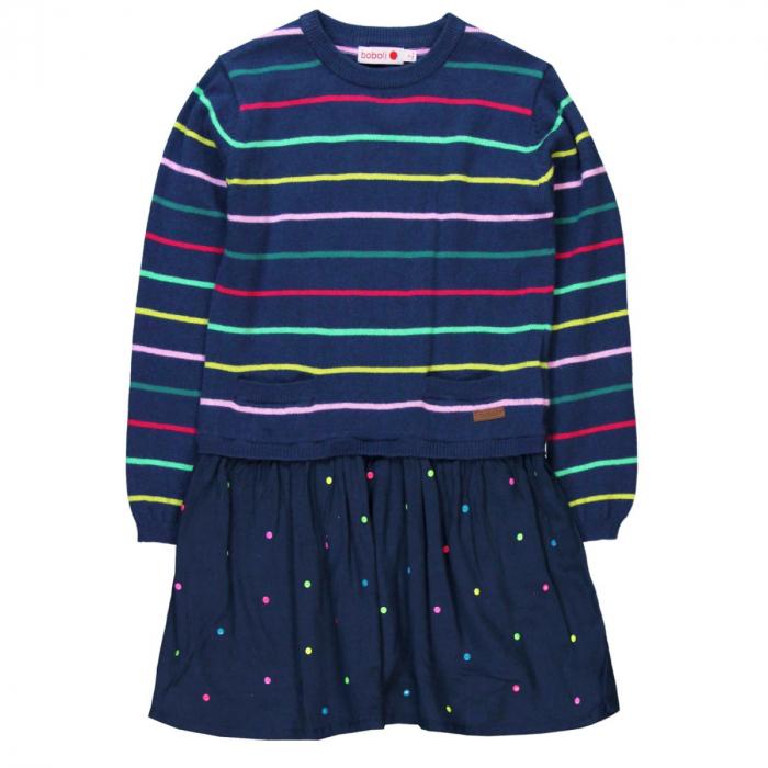 Rochie tricot cu fusta vascoza, navy, Boboli 0