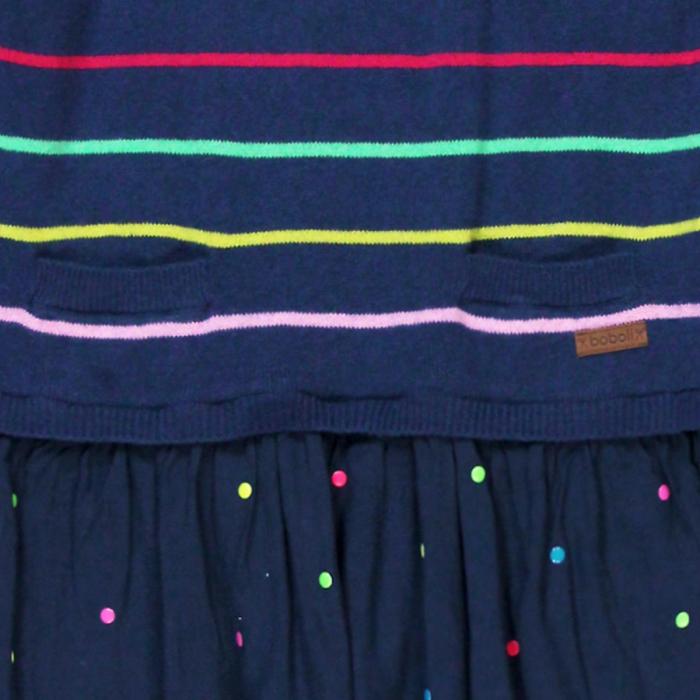 Rochie tricot cu fusta vascoza, navy, Boboli 2